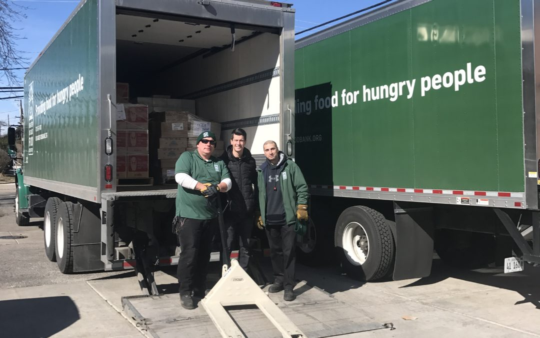Two trucks of food were delivered for the Food Pantry